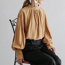Spring Fall Office Ladies Blouse Japanese Chiffon Women's Round Neck Lantern Sleeve Pullover Shirts Elegant Solid Color Tops 2019 hot sale spring women shirts tops long sleeve bow collar solid ladies chiffon blouse tops ol office style chemise femme