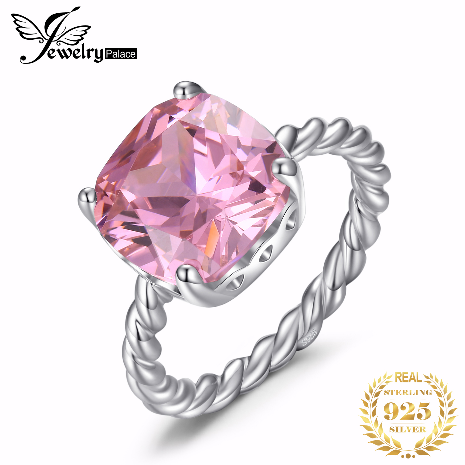 JewelryPalace Cushion Huge Pink CZ Ring 925 Sterling Silver Rings For Women Stack Engagement Ring Silver 925 Gemstones Jewelry