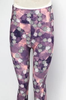 New hot sale butter soft tights four way stretch 230gsm popular purple color tie dye daisy flowers leggings