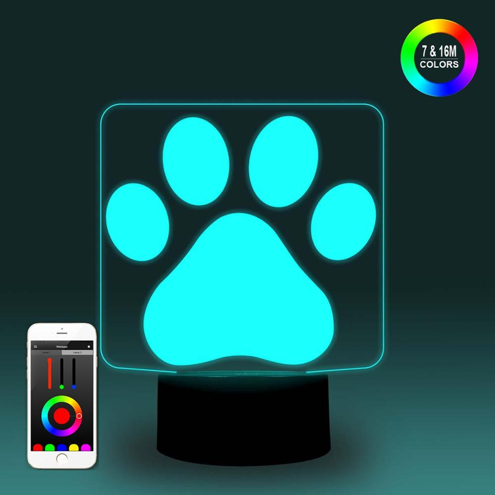 NiteApps 3D Paw Night Light Desk Table Illusion Decoration Lamp Holiday Birthday Gift APP/Touch Control