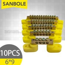 10 шт. клеммные блоки 6*9 ряд воспламенение замедление нейтральная медь для электрическая коробка оборудование распределительной коробки синий/желтый