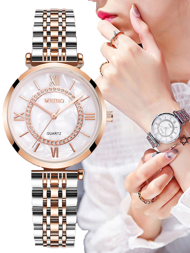 Women Watches Mesh-Strap Diamond Stainless-Steel Silver Female Top-Brand Ladies Luxury