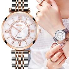 Women Watches Mesh-Strap Diamond Stainless-Steel Silver Female Top-Brand Fashion Luxury