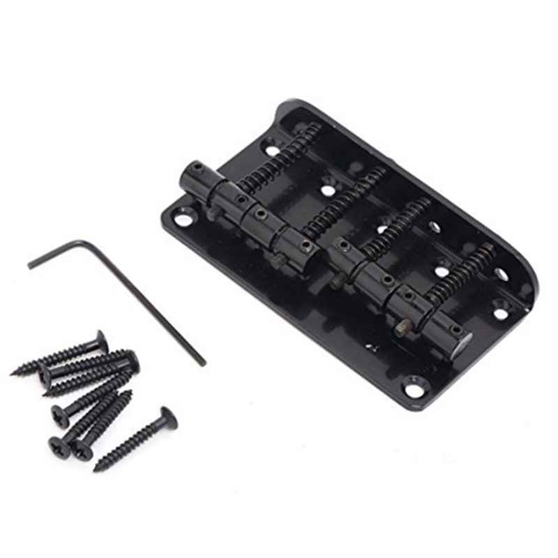 4 String Vintage Style Bass Hardtail Bridge For Precision Jazz Bass Top Load Upgrade,Black