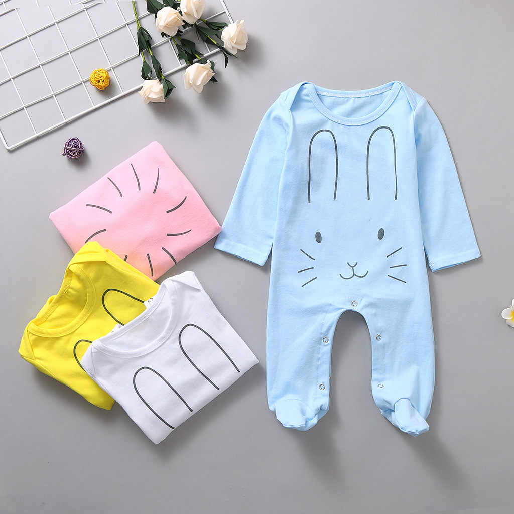 Newborn Infant Baby Girls Boys Long Sleeve Rabbite Cartoon Print Romper Jumpsuit New Born Baby Clothes Infant Newborn Romper