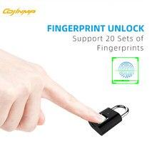 Cojinma seguro candado huella smart finger print gaveta lock verrou porte usb recarregável reconhecimento de 360 graus até 20 usuários