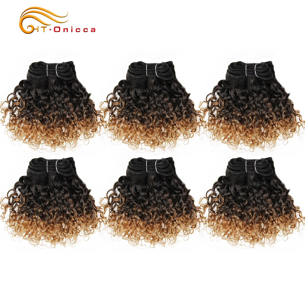 6 Pcs/Lot Brazilian Curly Hair Bundles Jerry Curl 1B 27 30 99J Ombre Hair Bundles 100% Human Hair Weaves Short Bob Style