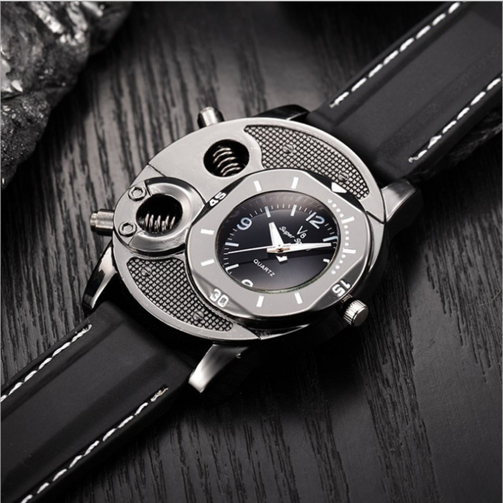 V8 New Men Casual Wristwatch Quartz Double Movement Sport Watches Super Speed Unique Style Black Analog Clock  Hot Sales