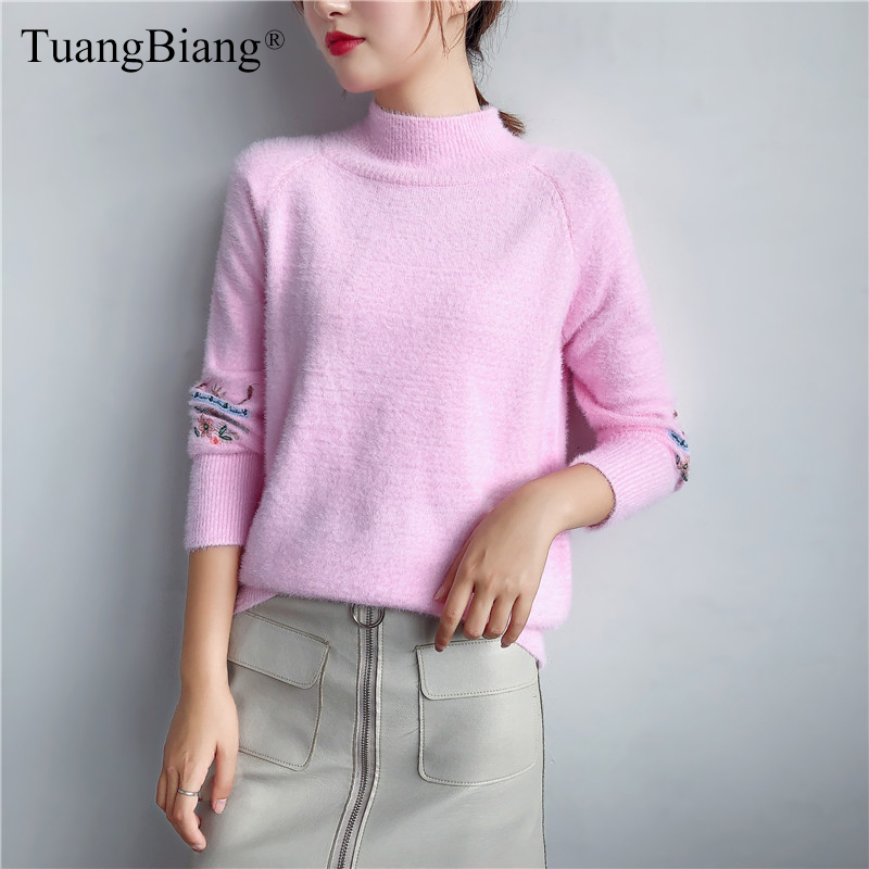 Women/'s Turtleneck Jacquard Cashmere Knitted Thicken Warm Loose Sweater Tops