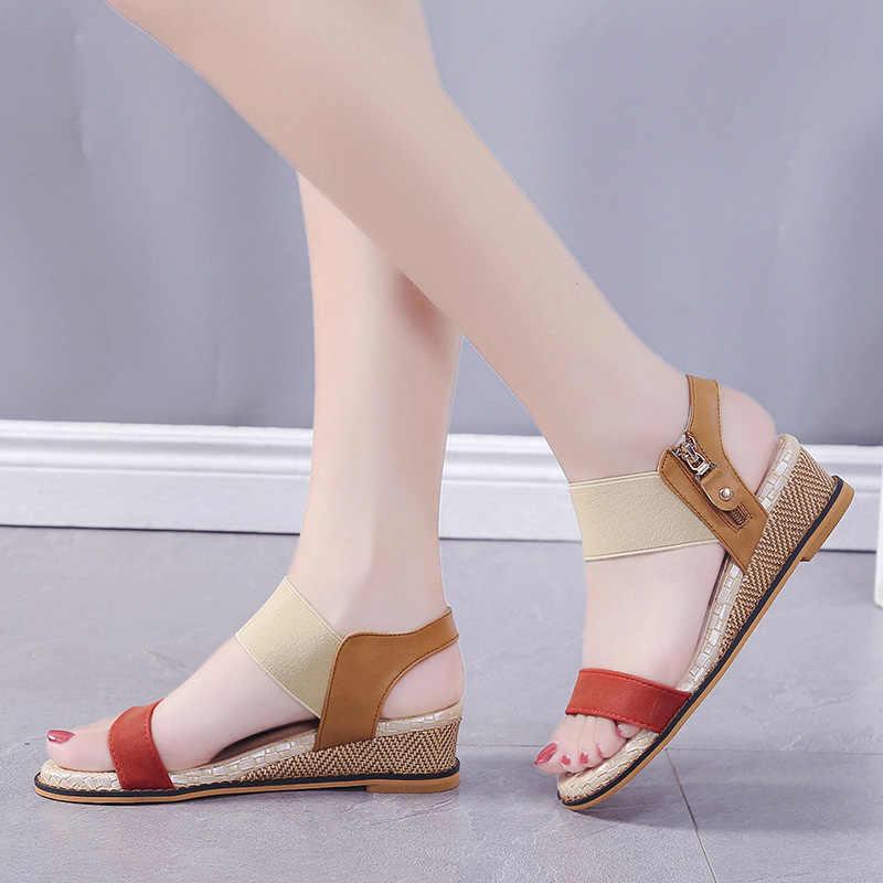Köcheln 2020 Pu Leder Keile Frau Sandalen Schuhe Damen Casual Sandalen Ankle Mid Ferse Offene spitze Platz Schuhe Zapatos De mujer