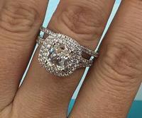 TRS523 Luxury Quality NSCD Synthetic Gem 2 Carat Cushion Cut Engagement Wedding Ring Set For Women,Bridal Set