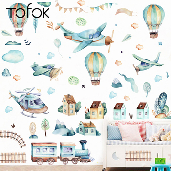 Tofok DIY Hand-painted Hot-air Balloon Train Wall Sticker Children Room Nursery Decoration Self-adhesive Waterproof
