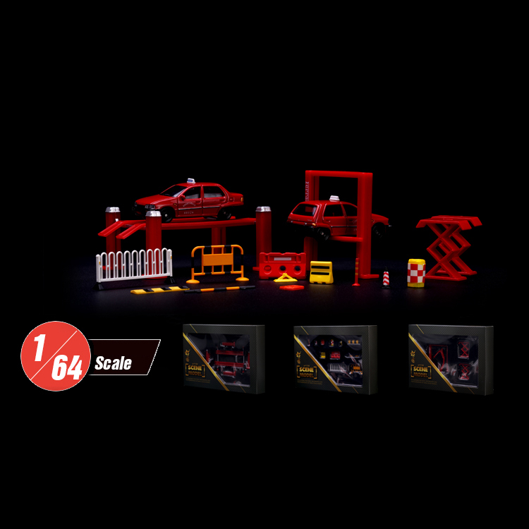 Minature 1:64 Model Car Mini Repair Shop Tool Twin Post Lift Traffic Barricades Road Signs Display Scene Toys Set Free Shipping