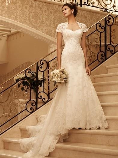 Casamento Romantic Short Sleeve Vestido De Noiva 2016 Sexy Backless Fashionable Lace Wedding Dress Bridal Gowns Free Shipping