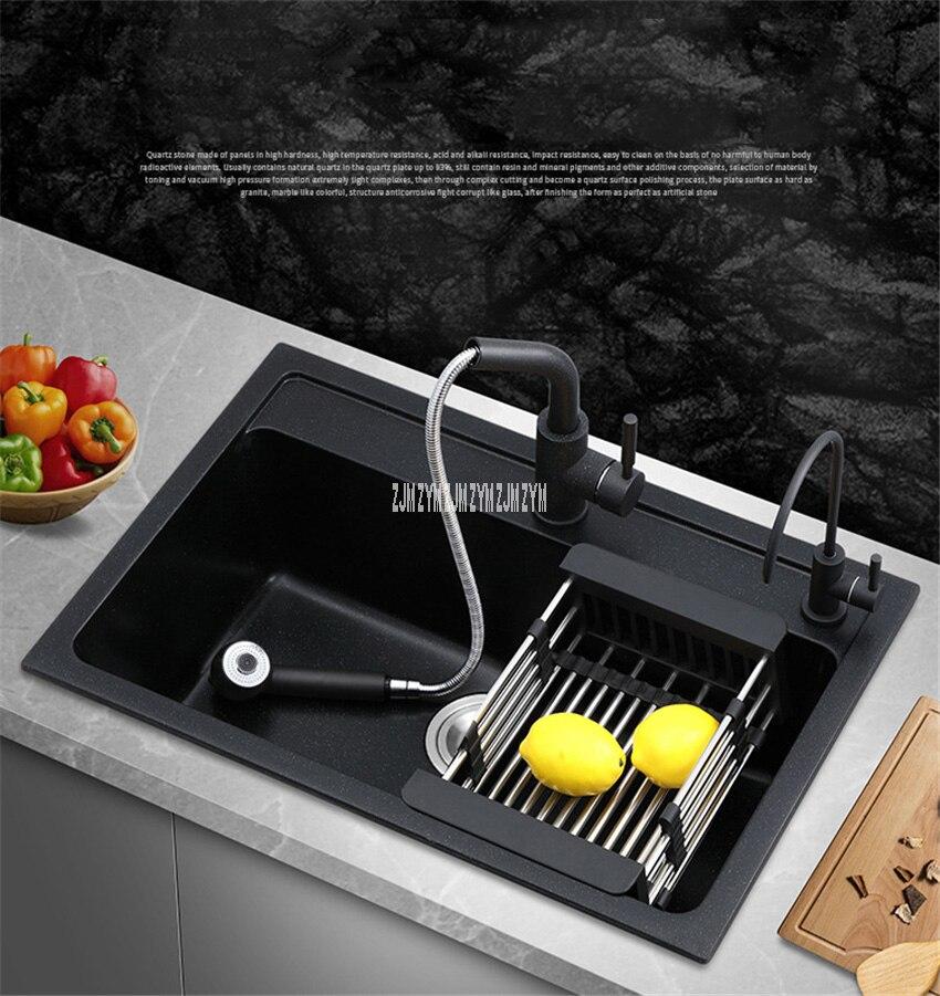 Simple fente maison épaissie cuisine Quartz évier finition mate coin rond légume lavabo multifonctionnel avec robinet