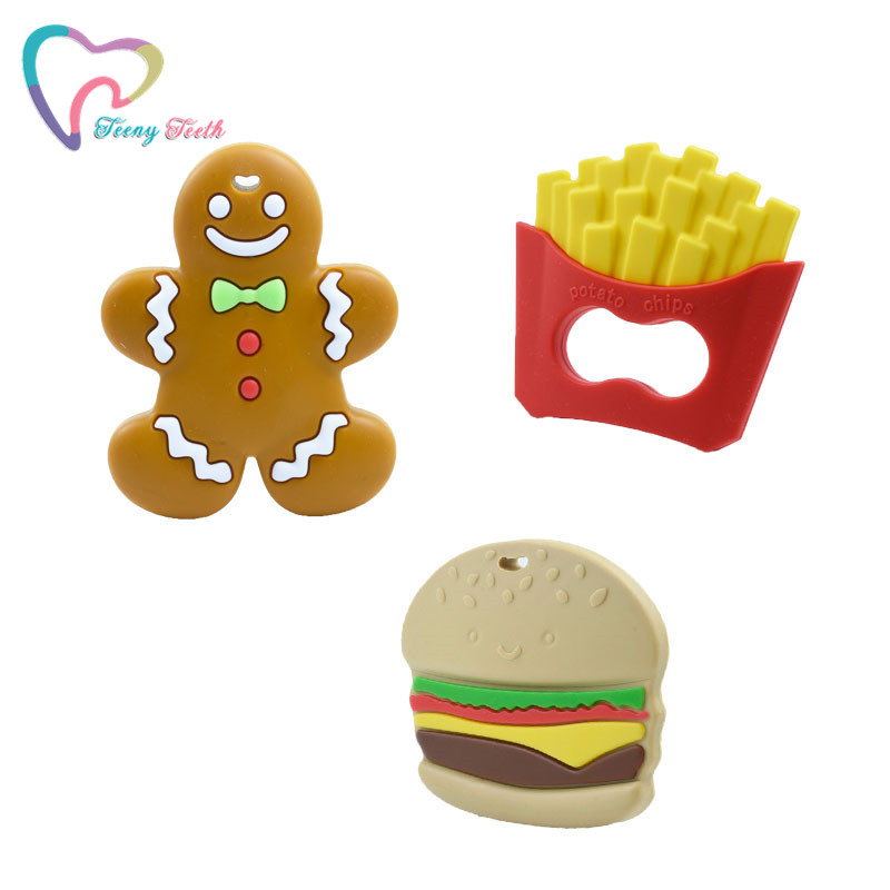 Potato Chips+Hamburger+Gingerbread Man Food Grade French Fries Silicone Teether Beads For Necklace Pendant Nursing Toy