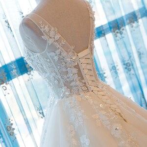 Image 5 - SL 55 الخامس الرقبة شاطئ فساتين الزفاف حجم كبير بوهو رخيصة فستان الزفاف الدانتيل