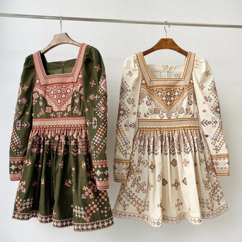 2020 New Square Collar Ethnic Embroidery Mini Dress