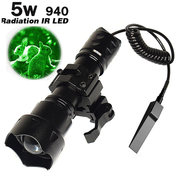 10w IR 940nm / 850NM LED Night Vision Zoomable Infrared Radiation Focus Gun Lamp Hunting Torch matching tactical wire guide rail 18650 ir night vision flashlgith 5w 940nm 5w 850nm led zoomable infrared radiation lantern tactical hunting torch gun mount
