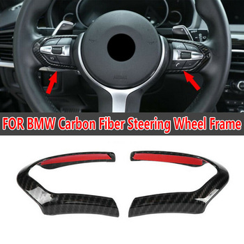 Carbon Fiber Steering Wheel trim Frame Decor Cover For BMW M3 M4 M5 X5M Interior Black Accessories Panel image