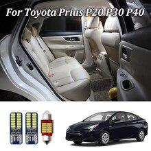 4 pçs branco nenhum erro conduziu luzes de leitura interiores do carro para toyota prius 20 30 40 nhw20 zvw30 zvw40