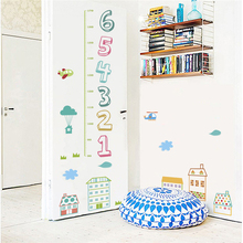 cartoon house children number height measure wall stickers for kids rooms home decor pvc growth chart decals diy poster