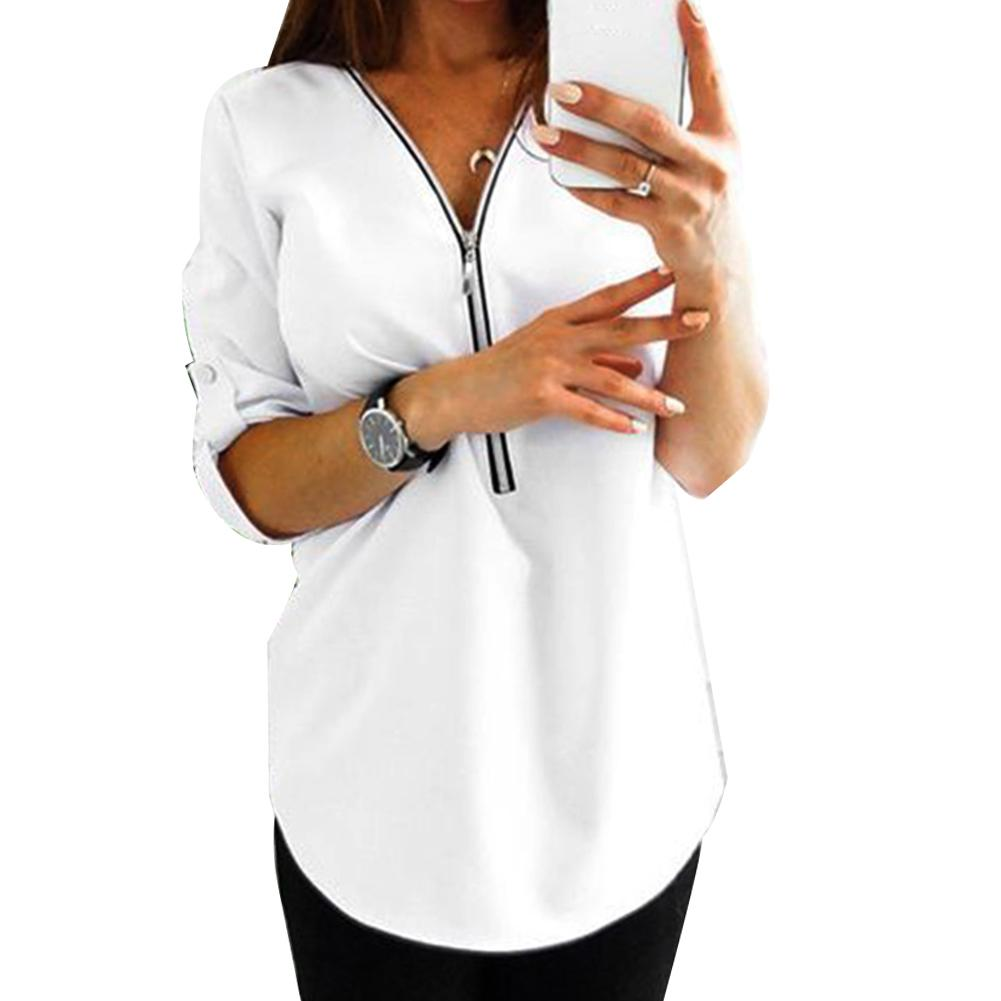 Spring Autumn Women Casual Solid Color Long Sleeve Shirt Zipper Loose Blouse