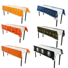 1pc 110*180cm Plastic Disposable Tablecloth Halloween Party Decor Table Cover Rectangle Desk Cloth Wipe Covers Home