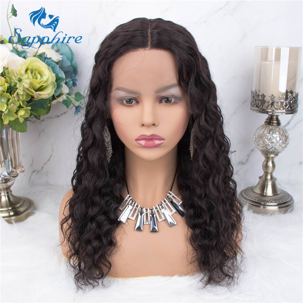 Sapphire Hair T Lace Human Hair Wigs For Black Women Deep Part Pre Plucked Lace Brazilian Remy Hair Loose Curly Human Hair Wig