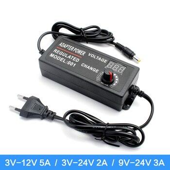 Adjustable AC to DC 3V 12V 3V 24V 9V 24V Universal adapter with display screen voltage Regulated 3V 12V 24V power supply adatper donolux ac dc adapter 72w 24v