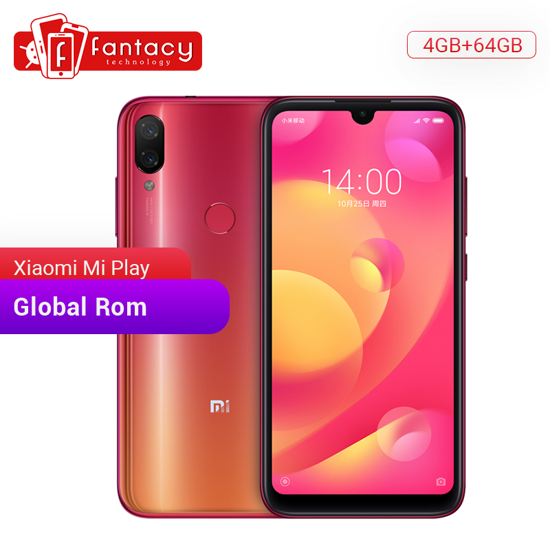 Global Rom Xiaomi Mi Play 4GB RAM 64GB ROM 5.84'' FHD Display MTK Helio P35 Octa Core 12MP AI Dual Cameras Mobile Phone