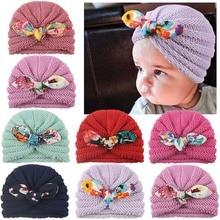 Girl Hat Turban-Cap Autumn Baby Winter Cotton Fashion New Bow Cute for 0-3-Year Czapka