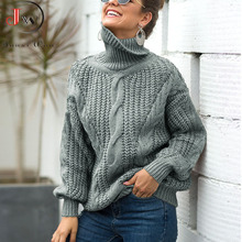 Women Oversized Sweater 2021 Loose Autumn Winter Turtleneck Elegant Knitted Warm Pullovers Fashion Solid Tops Knitwear Jumper