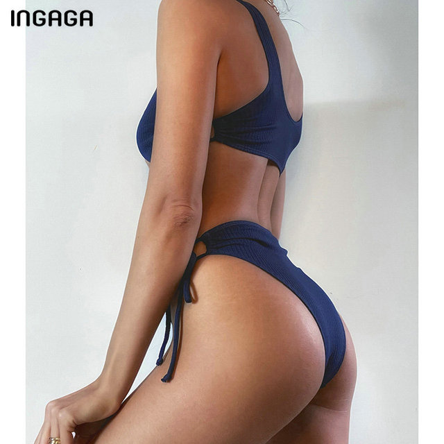 INGAGA Ribbed Bikinis Women's Swimsuits High Waist Swimwear Push Up Biquini String Bow Bathing Suits 2021 New Black Beachwear 3