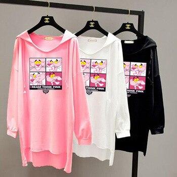 цена на 2019 Spring and Autumn Clothing Korean Version Loose LARGE SHIRTs Women Simple Long Sleeve Medium Long Batman Hoodie Women