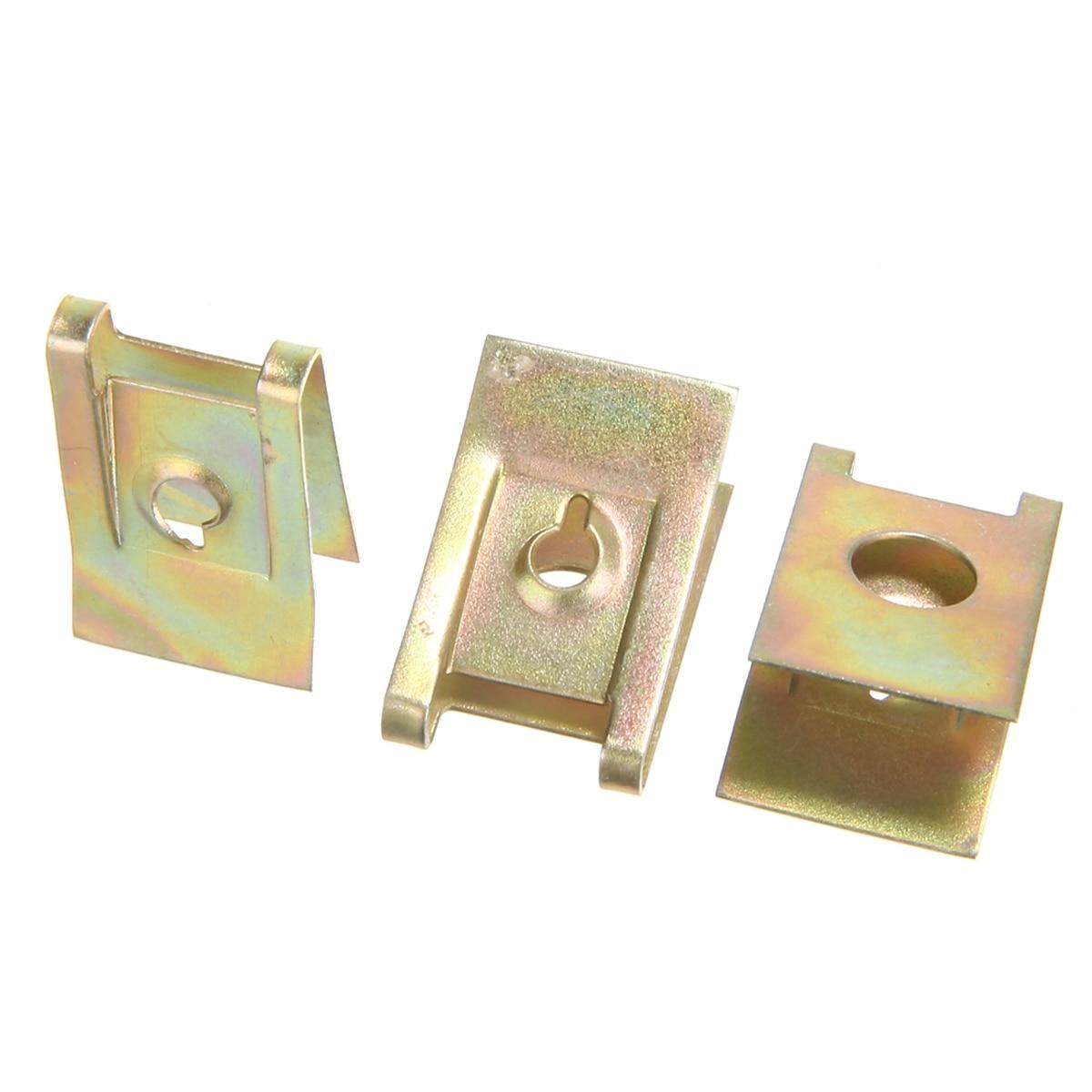 10Pcs 6mm Brass Tone Metal Rivets Fender Trunk Retainer Fastener Clip for Car
