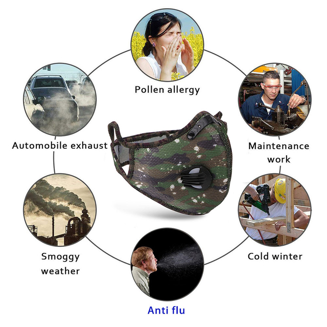 Reusable Respirator Anti Protection Flu Mask Droplets Face Mask Filter PM2.5 Anti-fog Breathable Dustproof Bicycle PM25 Dust 1