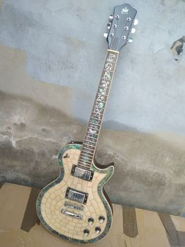 free shipping New High quality Byron custom abalone electric guitar white pearl Mahogany body best custom guitar free shipping chinese factory custom 2017 100% new mt d 28 acoustic guitar matte finish neck backside nature color 323