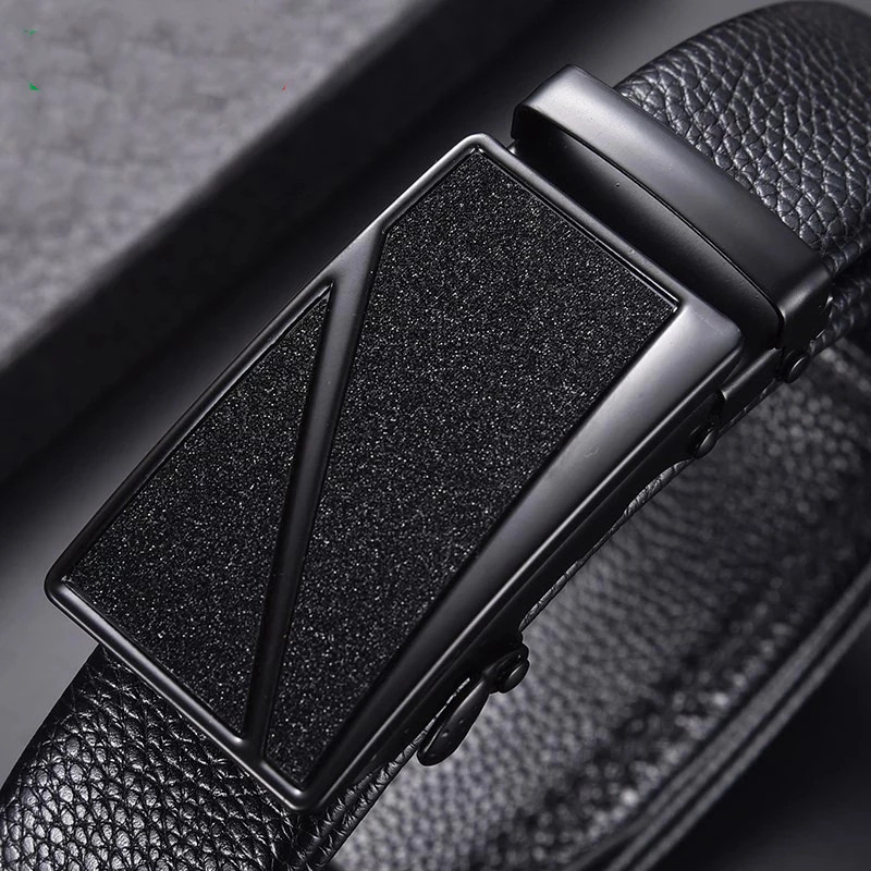 Men's Belt Cow Leather business Automatic Buckle Black Genuine Leather Belts for Men Best Quality Male Waist belt dropshipping