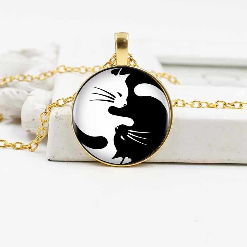 2019 moda preto e branco yin e yang gato colar de pingente de vidro de cristal acessórios