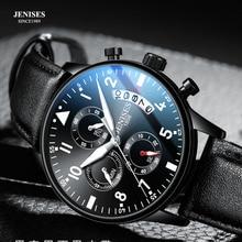 Fashion Leather Men Watch Top Brand Luxury Fashion Pilot Chr
