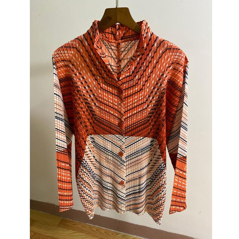 Changpleat 2019 autumn New Women printed Basic Jacket Coats Miyak Pleated Fashion Stand Collar Long sleeve Female Outwear Coat