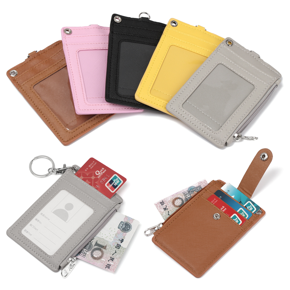 1Pc Portable Business Name ID Credit Card Holder Leather Badge Holders Coin Purse Keyring Wallet Money Pouch Keychain Unisex
