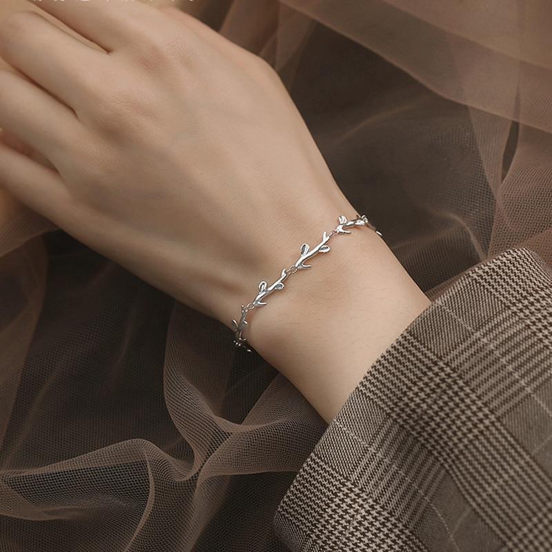 Adjustable 925 Sterling Silver Leaf Charm Bracelet & Bangle Elegant Women Christmas Party Jewelry sl126