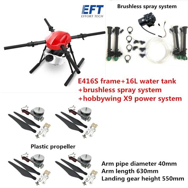 EFT E416S 16L 16 كجم الزراعة رذاذ بدون طيار مع فرش مضخة مياه رذاذ نظام هواية الجناح X9 نظام الطاقة 1