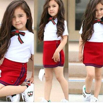 Uniform Style Two Piece Toddler Girl Clothes Set Newborn Kid Baby Girls Bow Flower Tie Tops T-shirt Short Mini Skirt Tutu Dress
