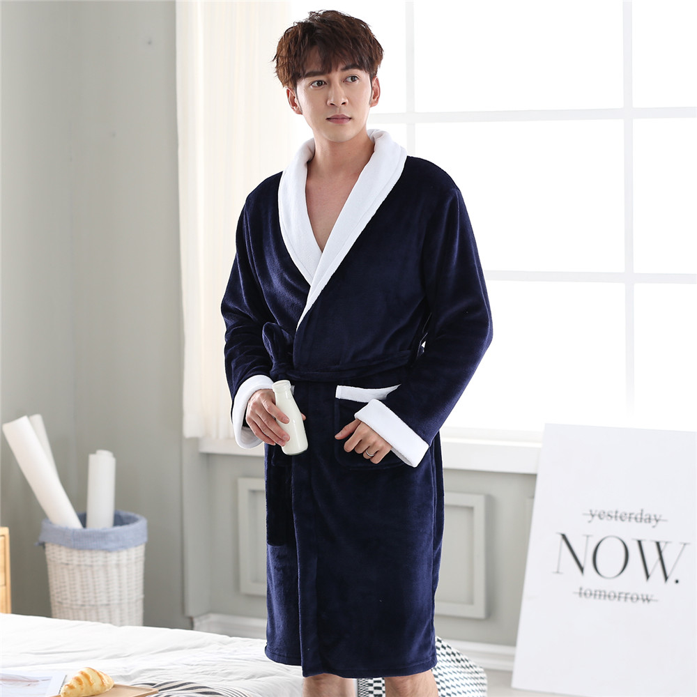 Warm Full Sleeve Negligee V-neck Home Dressing Gown Male Kimono Bathrobe Gown Nightwear Solid Colour Intimate Lingerie