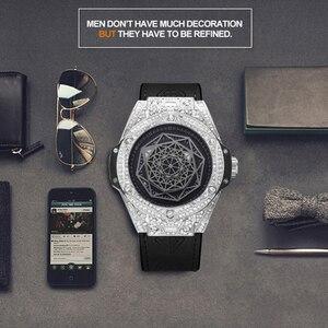 Image 5 - Ijs Out Bling Diamond Horloge Voor Mannen Vrouwen Hip Hop Iced Out Horloge Mannen Quartz Horloges Roestvrij Staal Wijzerplaat lederen Horloge Man