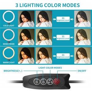 """Image 5 - 6 10 """"светодиодный светильник для селфи с кольцом лампа для Tik Tok фотография Макияж Видео Live Studio 3200 5600K Диммируемый Мини светодиодный кольцевой светильник для камеры"""