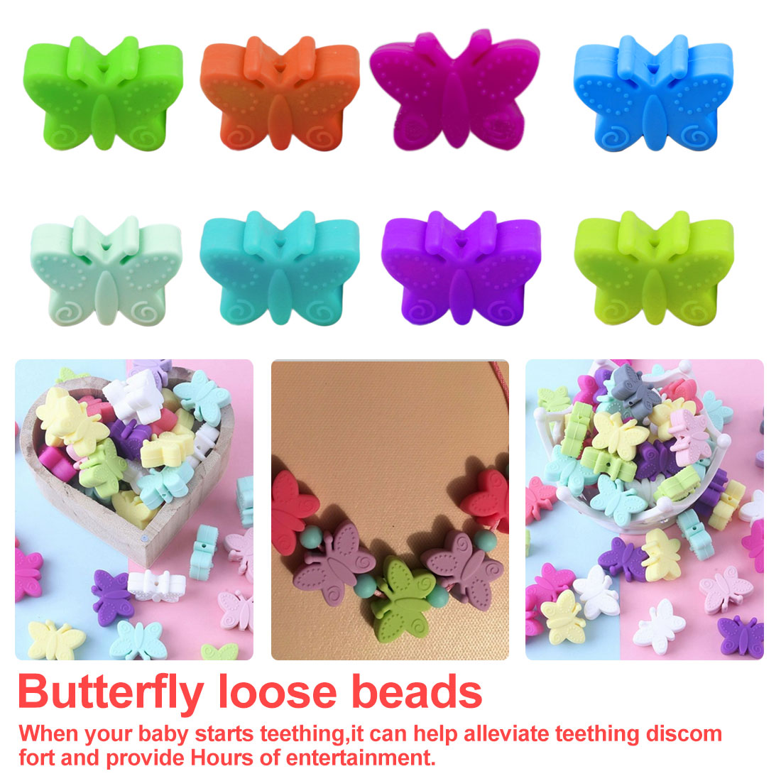 5pc Silicone Butterfly Beads BPA Free Teething DIY Bead Animal Silicone Bead For Pacifier Making Baby Teether Accessories